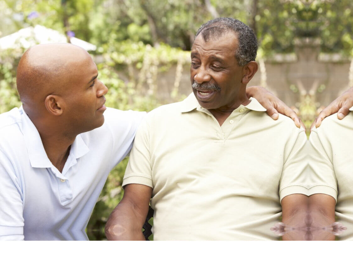 two grown men talking