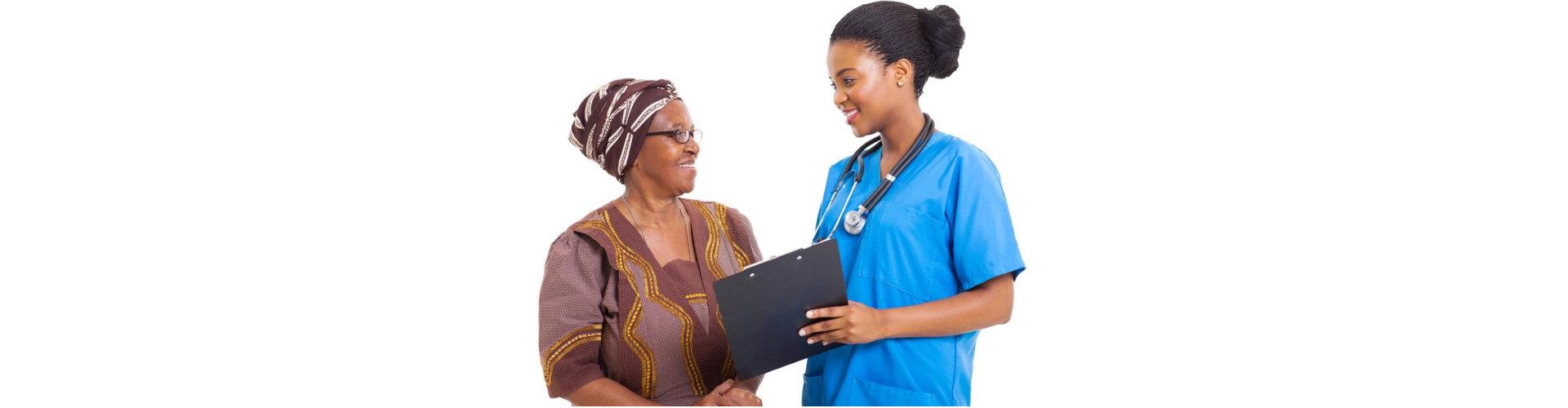 senior woman talking to her nurse